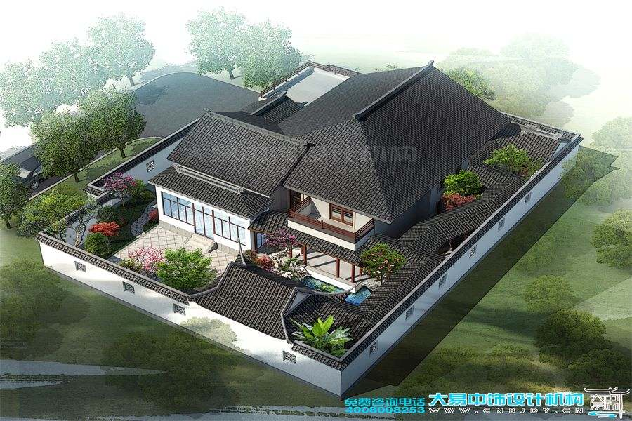 郑州长青路别墅园林设计效果图,体验豪华别墅园林装修