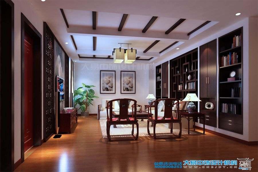 山西长治现代中式风格别墅复式楼设计效果图
