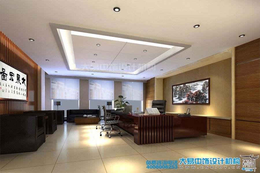 天津办公空间现代中式风格设计效果图