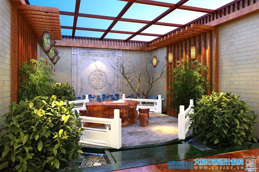山东青岛420平米新中式风格别墅装修效果图
