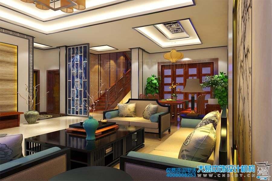 山东德州350平米别墅设计新中式风格装修效果图